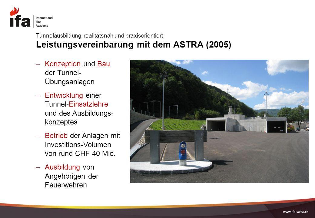 Leistungsvereinbarung mit dem ASTRA (2005)  Konzeption und Bau der Tunnel- Übungsanlagen  Entwicklung einer Tunnel-Einsatzlehre und des Ausbildungs-