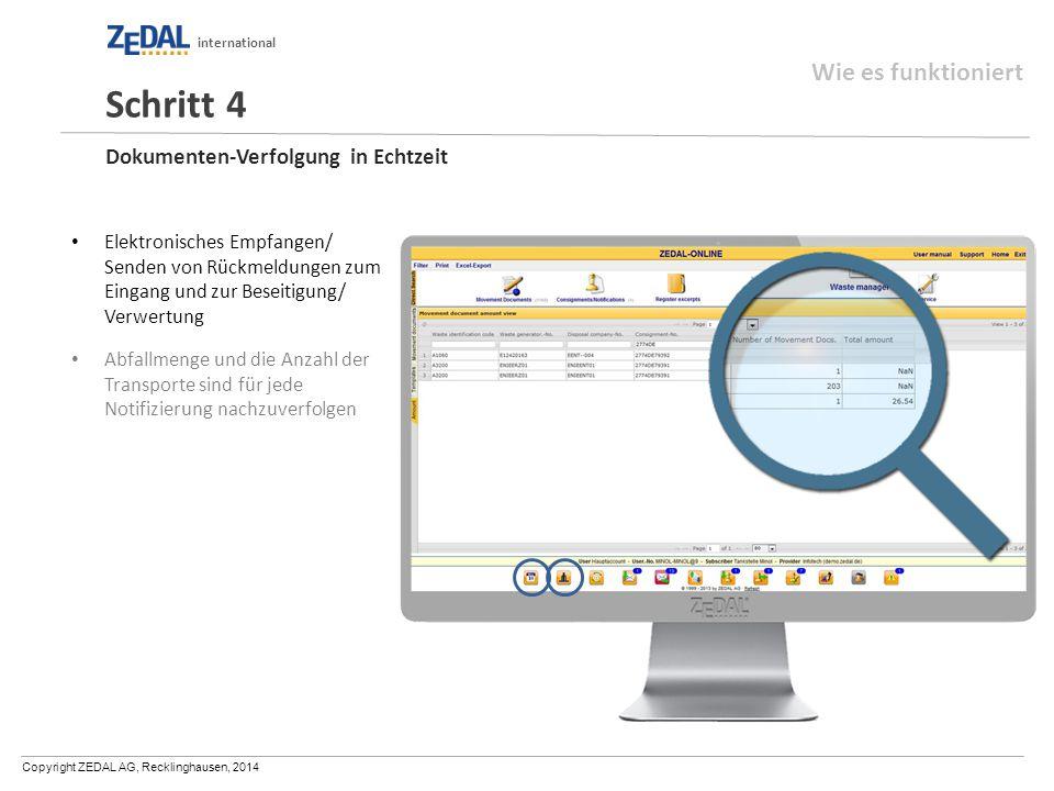 Copyright ZEDAL AG, Recklinghausen, 2014 international Dokumenten-Verfolgung in Echtzeit Elektronisches Empfangen/ Senden von Rückmeldungen zum Eingan