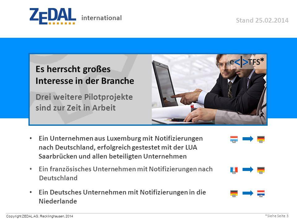 Copyright ZEDAL AG, Recklinghausen, 2014 Ein Unternehmen aus Luxemburg mit Notifizierungen nach Deutschland, erfolgreich gestestet mit der LUA Saarbrü