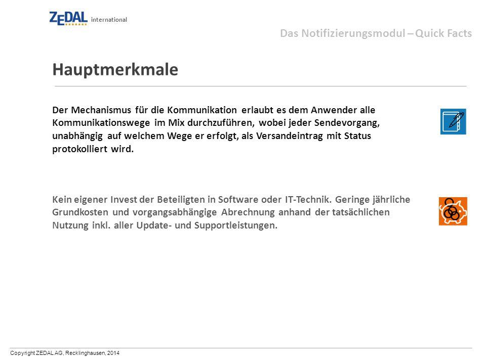 Copyright ZEDAL AG, Recklinghausen, 2014 international Hauptmerkmale Der Mechanismus für die Kommunikation erlaubt es dem Anwender alle Kommunikations