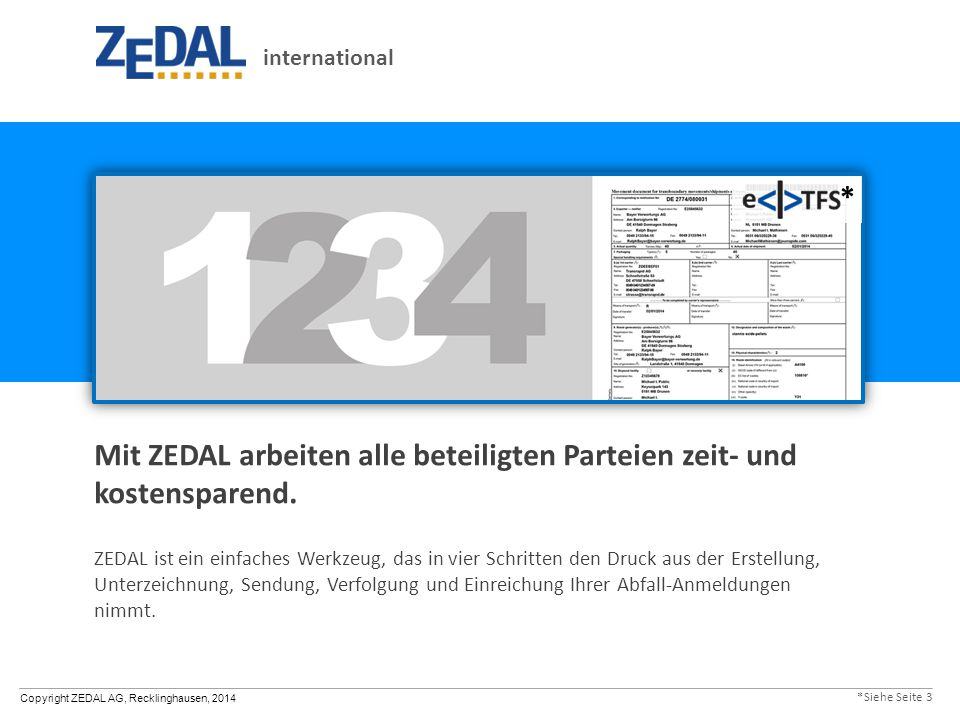 Copyright ZEDAL AG, Recklinghausen, 2014 Mit ZEDAL arbeiten alle beteiligten Parteien zeit- und kostensparend. ZEDAL ist ein einfaches Werkzeug, das i