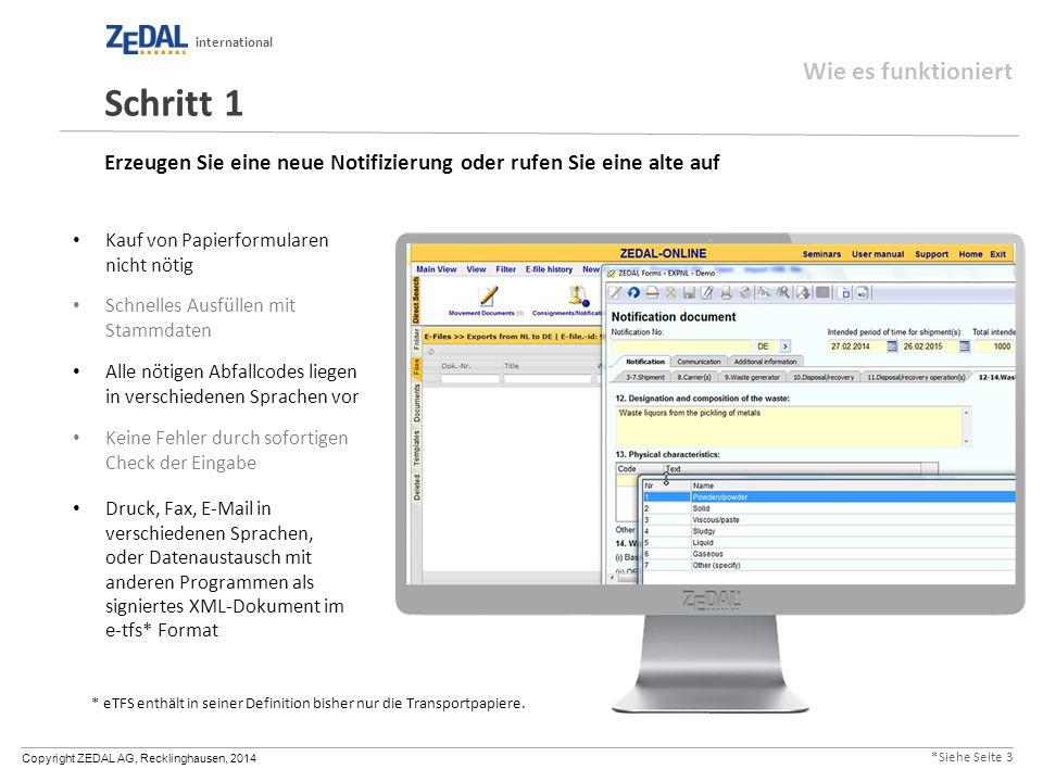 Copyright ZEDAL AG, Recklinghausen, 2014 international Erzeugen Sie eine neue Notifizierung oder rufen Sie eine alte auf Kauf von Papierformularen nic