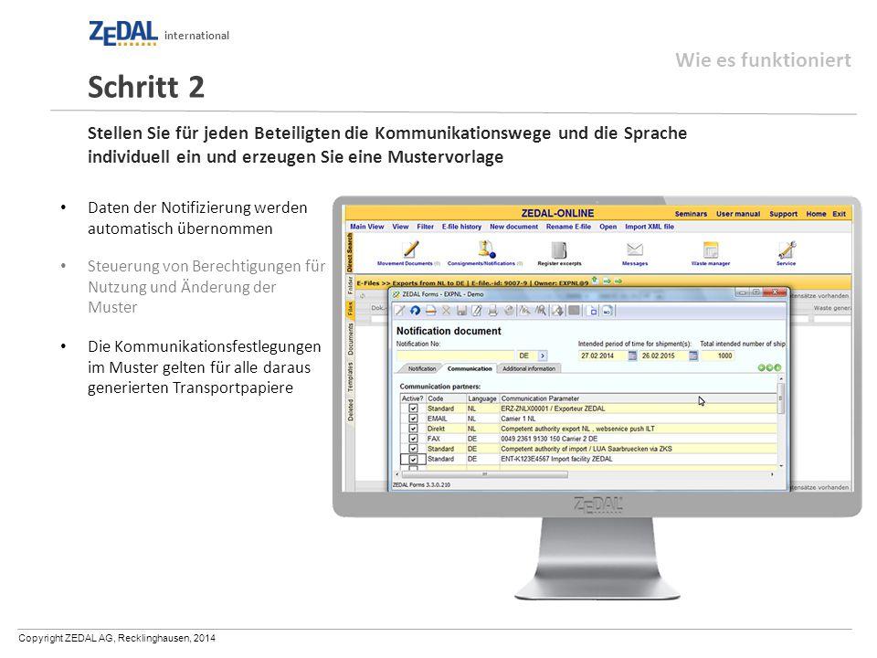 Copyright ZEDAL AG, Recklinghausen, 2014 international Stellen Sie für jeden Beteiligten die Kommunikationswege und die Sprache individuell ein und er