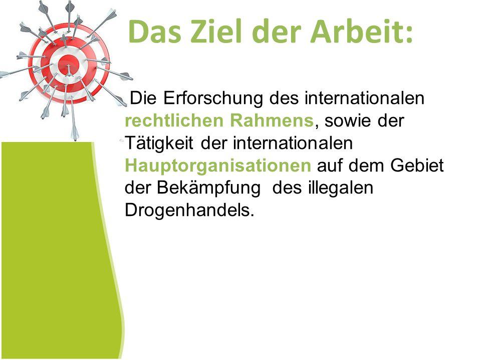 Das Ziel der Arbeit: Die Erforschung des internationalen rechtlichen Rahmens, sowie der Tätigkeit der internationalen Hauptorganisationen auf dem Gebi