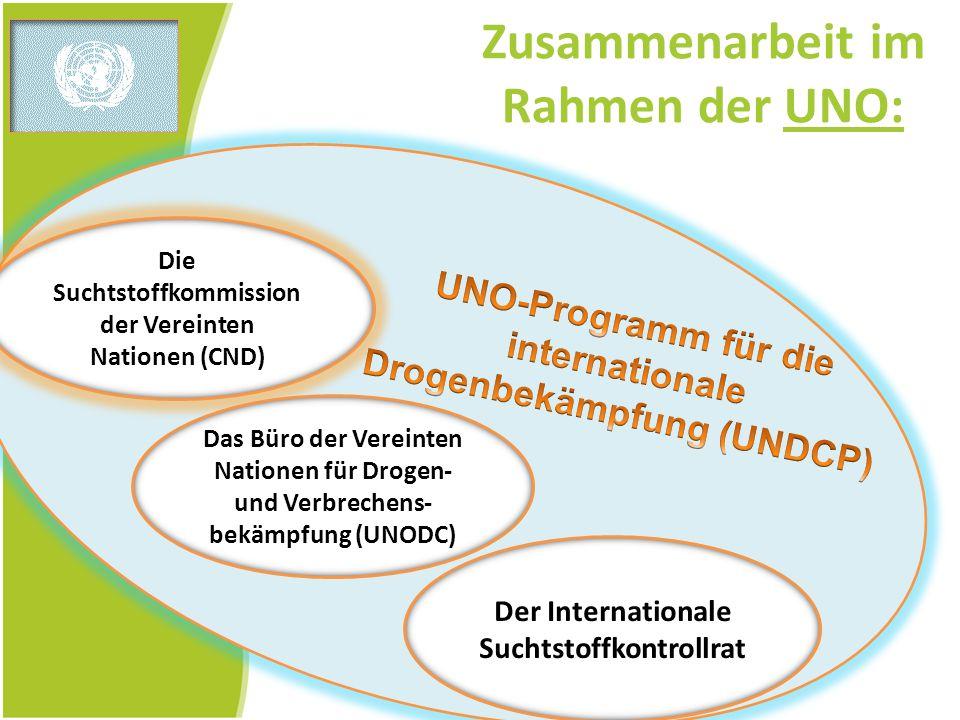 Zusammenarbeit im Rahmen der UNO: Die Suchtstoffkommission der Vereinten Nationen (CND) Das Büro der Vereinten Nationen für Drogen- und Verbrechens- b