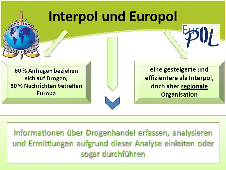 Interpol und Europol 60 % Anfragen beziehen sich auf Drogen; 80 % Nachrichten betreffen Europa 60 % Anfragen beziehen sich auf Drogen; 80 % Nachrichte