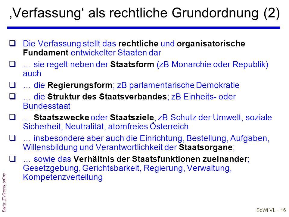 SoWi VL - 15 Barta: Zivilrecht online 'Verfassung' als rechtliche Grundordnung (1) q'Idee' der Verfassung stammt aus Griechenland qVerfassung im forme