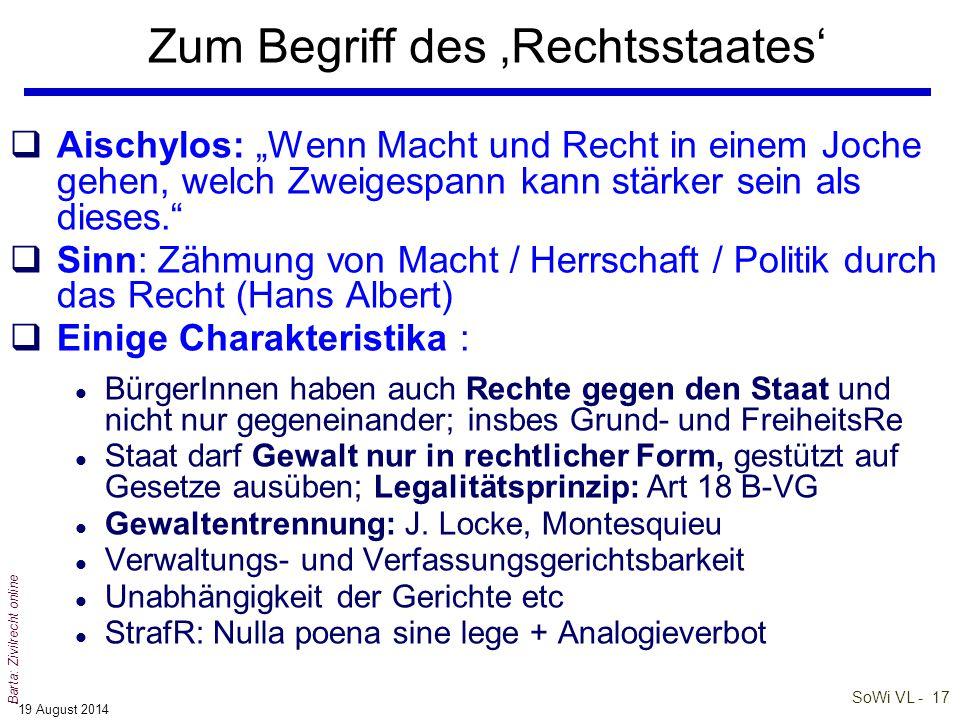 SoWi VL - 16 Barta: Zivilrecht online 'Verfassung' als rechtliche Grundordnung (2) qDie Verfassung stellt das rechtliche und organisatorische Fundamen