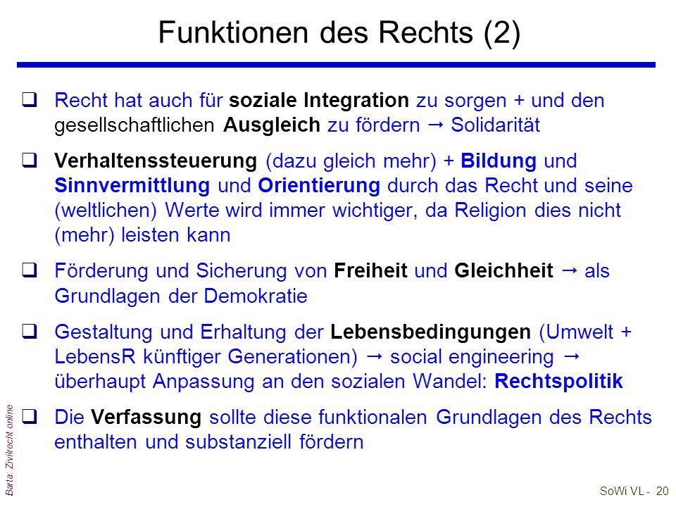 SoWi VL - 19 Barta: Zivilrecht online Funktionen des Rechts (1) Die Steuerungsfunktion von Recht umfasst heute: qFriedens-, Ordnungs-, Solidaritäts-,