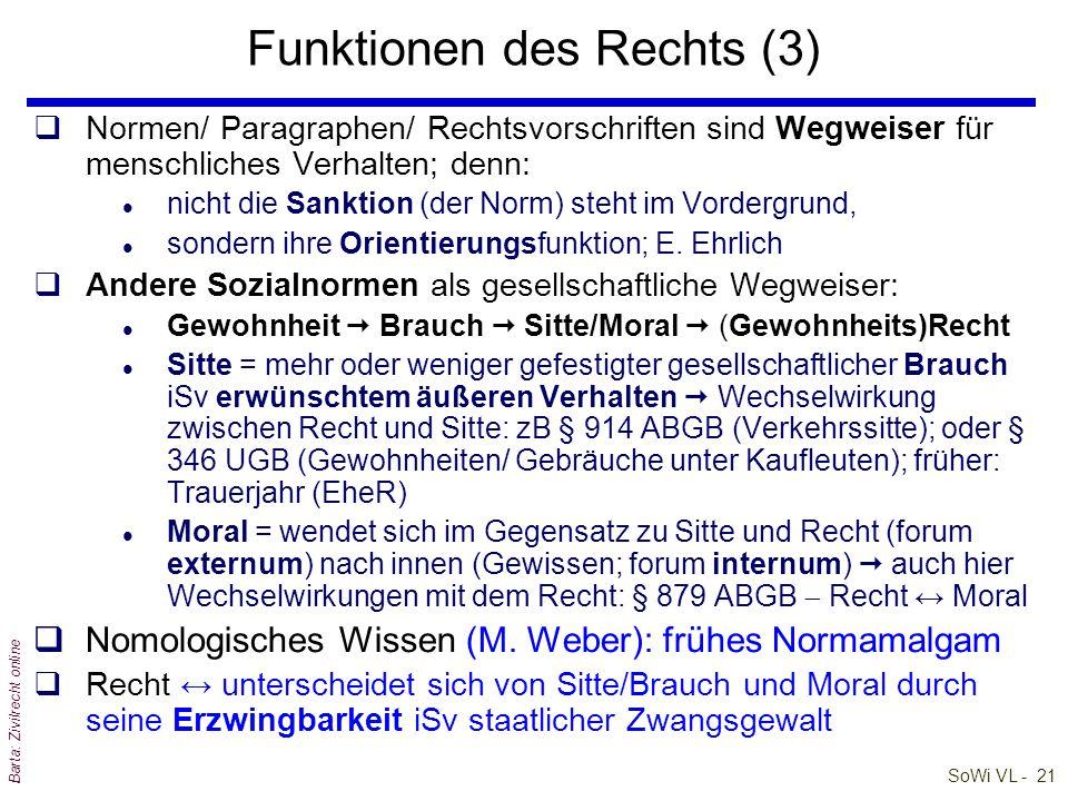 SoWi VL - 20 Barta: Zivilrecht online Funktionen des Rechts (2) qRecht hat auch für soziale Integration zu sorgen + und den gesellschaftlichen Ausglei
