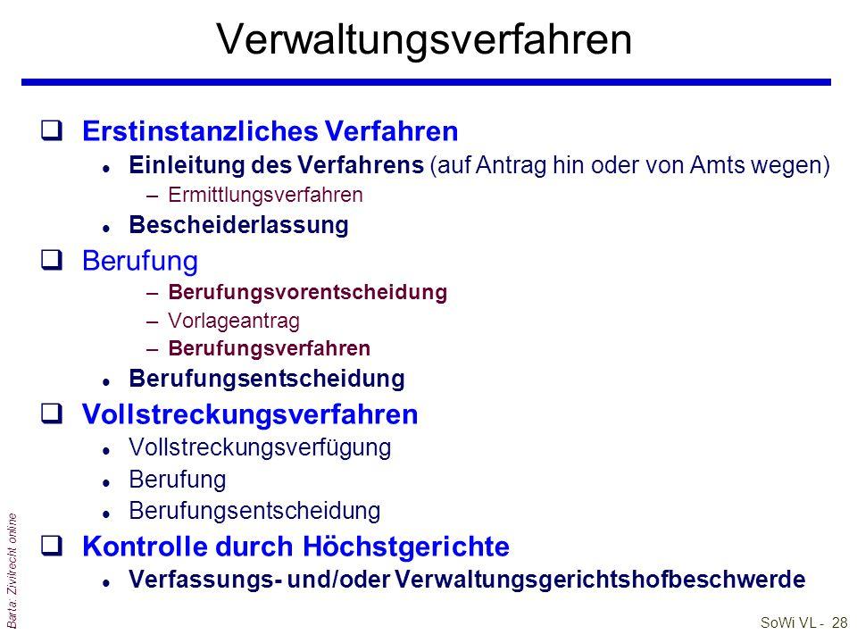 SoWi VL - 27 Barta: Zivilrecht online Gerichtsorganisation qGerichtstypen und Instanzenzug q§ 1 JN: