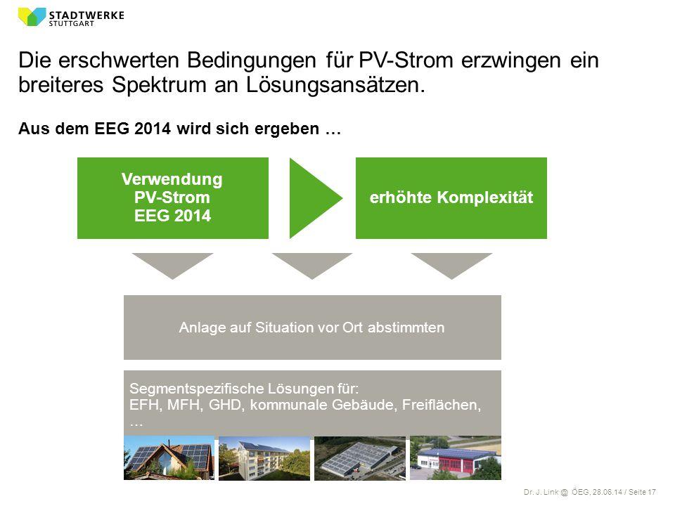 Dr. J. Link @ ÖEG, 28.06.14 / Seite 17 Die erschwerten Bedingungen für PV-Strom erzwingen ein breiteres Spektrum an Lösungsansätzen. Aus dem EEG 2014