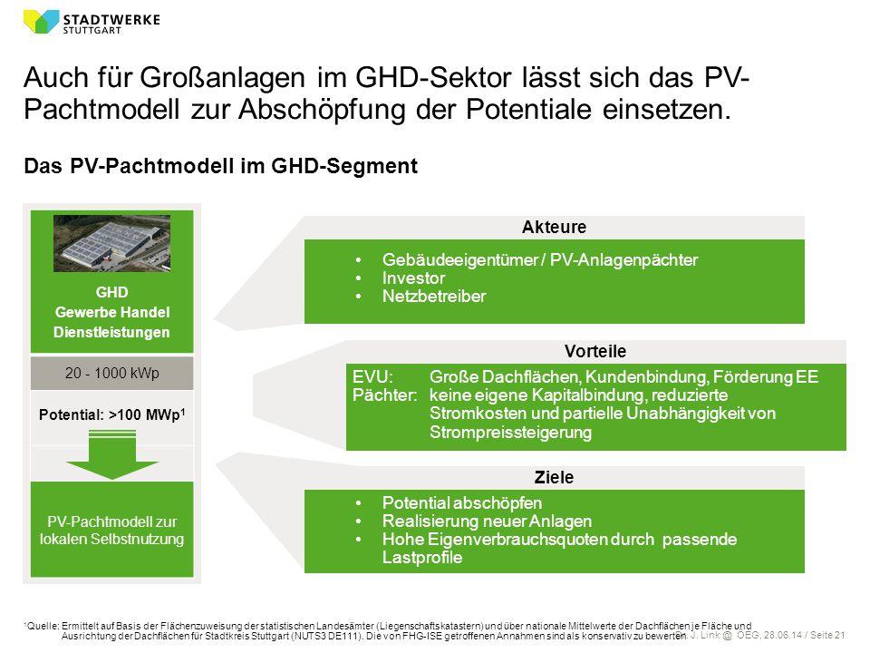 Dr. J. Link @ ÖEG, 28.06.14 / Seite 21 Auch für Großanlagen im GHD-Sektor lässt sich das PV- Pachtmodell zur Abschöpfung der Potentiale einsetzen. Das