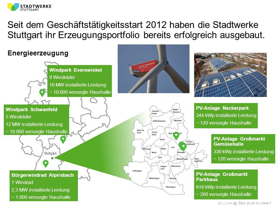 Dr. J. Link @ ÖEG, 28.06.14 / Seite 7 Windpark Everswinkel 8 Windräder 16 MW installierte Leistung ~ 10.000 versorgte Haushalte Energieerzeugung Seit