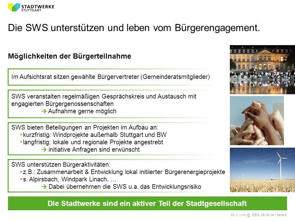 Dr. J. Link @ ÖEG, 28.06.14 / Seite 8 SWS unterstützen Bürgeraktivitäten: z.B.: Zusammenarbeit & Entwicklung lokal initiierter Bürgerenergieprojekte s