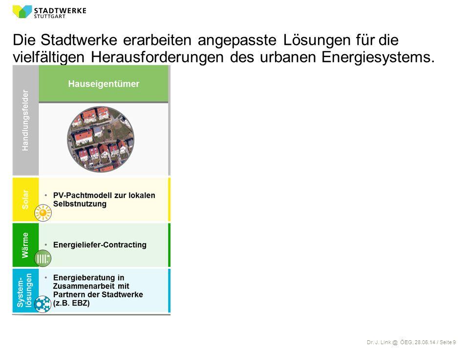 Dr. J. Link @ ÖEG, 28.06.14 / Seite 9 Die Stadtwerke erarbeiten angepasste Lösungen für die vielfältigen Herausforderungen des urbanen Energiesystems.