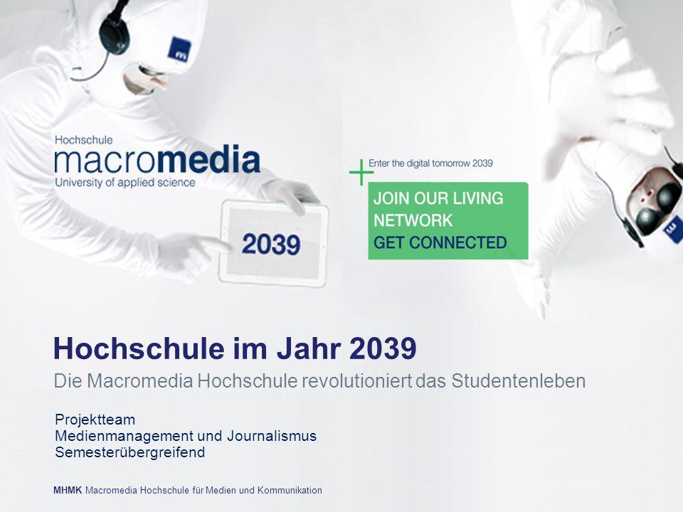 MHMK Macromedia Hochschule für Medien und Kommunikationwww.mhmk.de MHMK Macromedia Hochschule für Medien und Kommunikation Projektteam Medienmanagemen