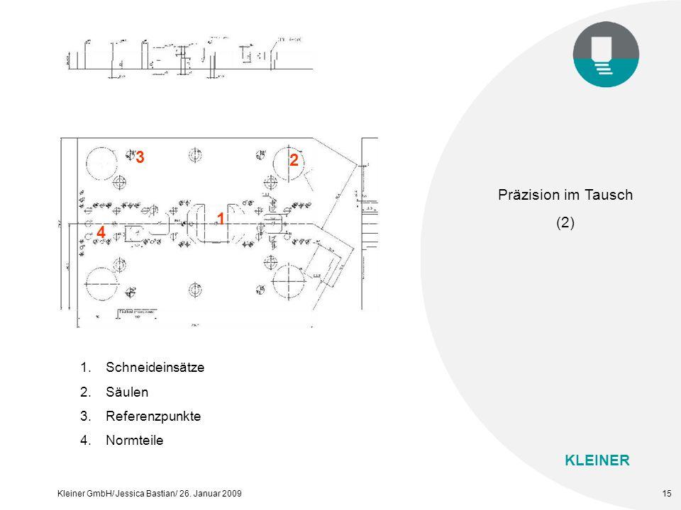 KLEINER Kleiner GmbH/ Jessica Bastian/ 26. Januar 200915 1 2 3 4 1. Schneideinsätze 2. Säulen 3. Referenzpunkte 4. Normteile Präzision im Tausch (2)
