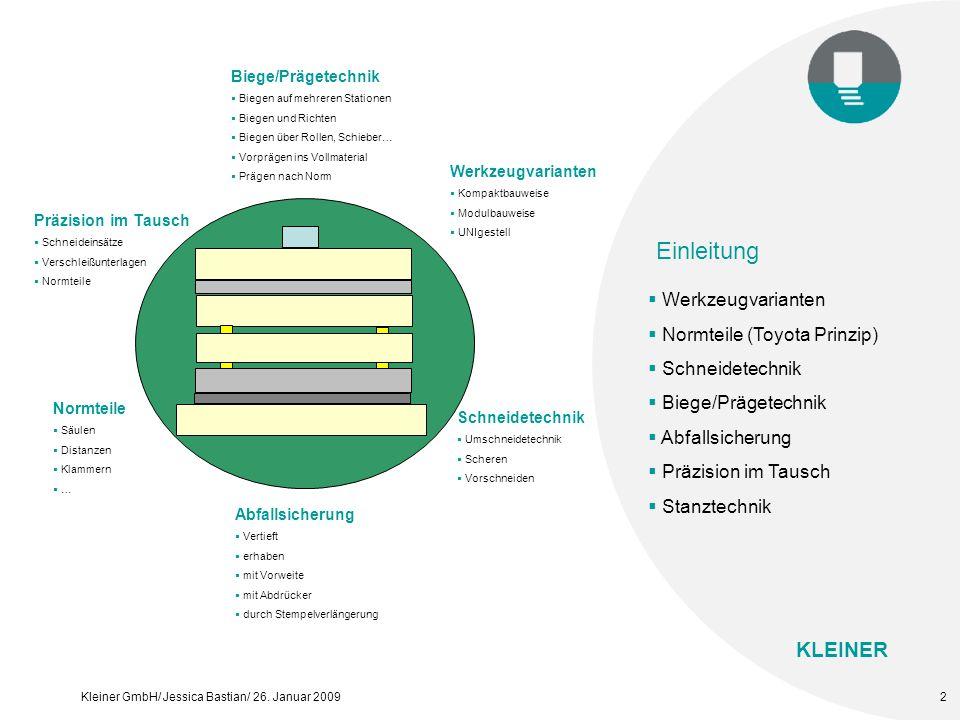 KLEINER Kleiner GmbH/ Jessica Bastian/ 26. Januar 20093 Werkzeugvarianten Kompaktbauweise