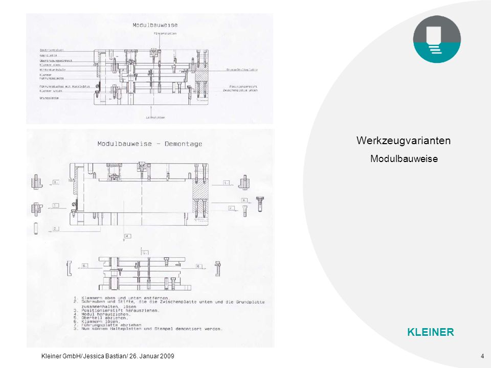KLEINER Kleiner GmbH/ Jessica Bastian/ 26. Januar 20095 Werkzeugvarianten UNI-Gestell