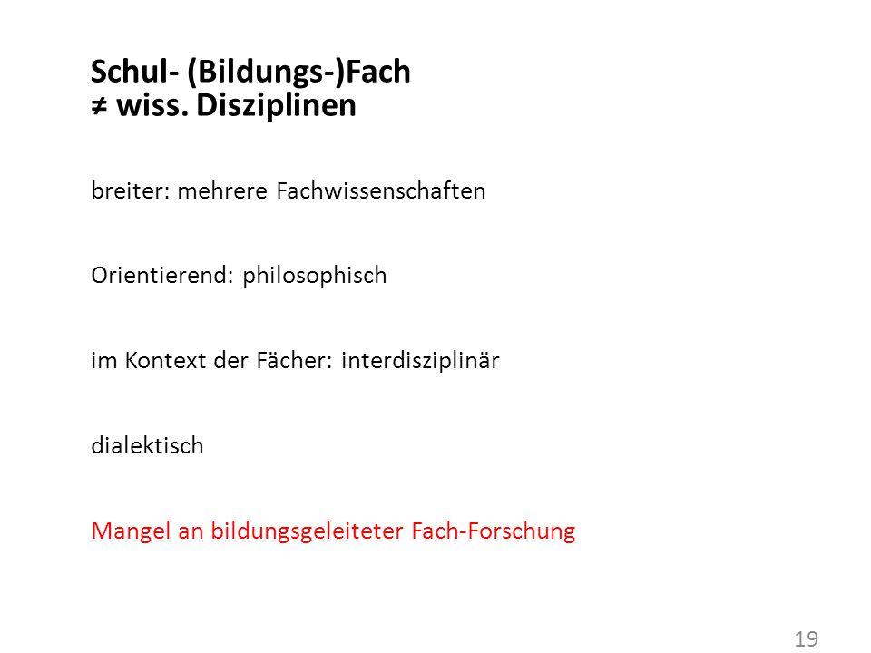 Schul- (Bildungs-)Fach ≠ wiss.