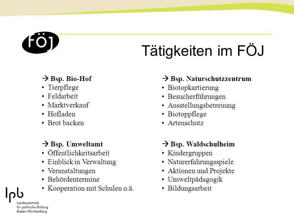  Bsp. Bio-Hof Tierpflege Feldarbeit Marktverkauf Hofladen Brot backen  Bsp. Umweltamt Öffentlichkeitsarbeit Einblick in Verwaltung Veranstaltungen B