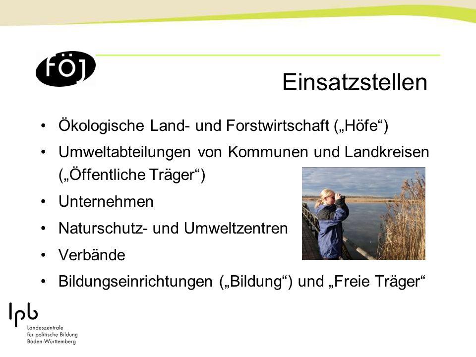 """Einsatzstellen Ökologische Land- und Forstwirtschaft (""""Höfe ) Umweltabteilungen von Kommunen und Landkreisen (""""Öffentliche Träger ) Unternehmen Naturschutz- und Umweltzentren Verbände Bildungseinrichtungen (""""Bildung ) und """"Freie Träger"""