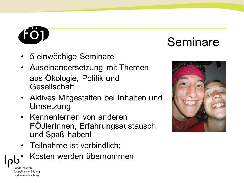 Seminare 5 einwöchige Seminare Auseinandersetzung mit Themen aus Ökologie, Politik und Gesellschaft Aktives Mitgestalten bei Inhalten und Umsetzung Ke