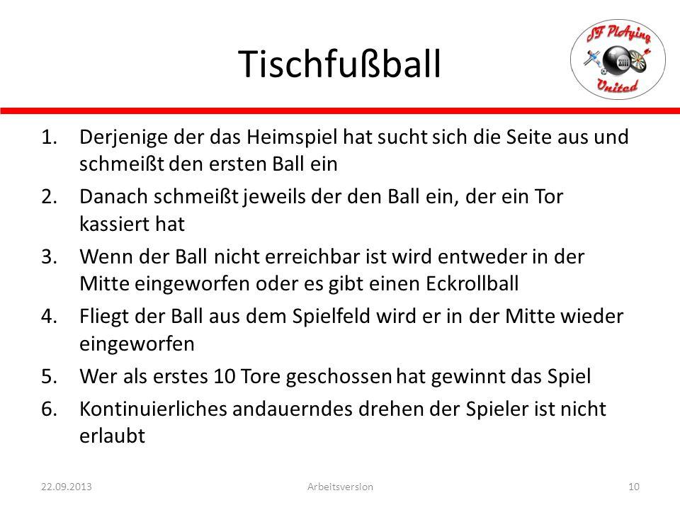 Tischfußball 10Arbeitsversion22.09.2013 1.Derjenige der das Heimspiel hat sucht sich die Seite aus und schmeißt den ersten Ball ein 2.Danach schmeißt jeweils der den Ball ein, der ein Tor kassiert hat 3.Wenn der Ball nicht erreichbar ist wird entweder in der Mitte eingeworfen oder es gibt einen Eckrollball 4.Fliegt der Ball aus dem Spielfeld wird er in der Mitte wieder eingeworfen 5.Wer als erstes 10 Tore geschossen hat gewinnt das Spiel 6.Kontinuierliches andauerndes drehen der Spieler ist nicht erlaubt