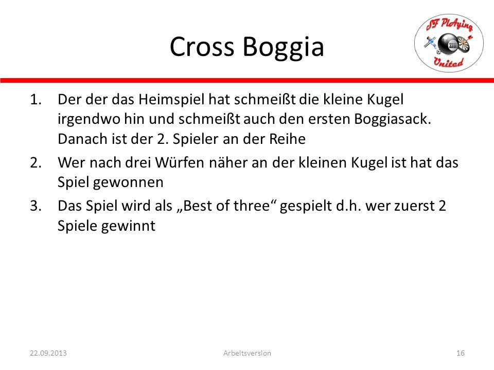 Cross Boggia 16Arbeitsversion22.09.2013 1.Der der das Heimspiel hat schmeißt die kleine Kugel irgendwo hin und schmeißt auch den ersten Boggiasack. Da