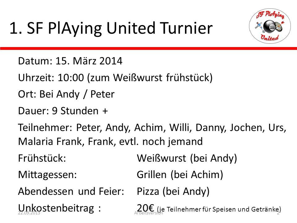 1.SF PlAying United Turnier Datum: 15.