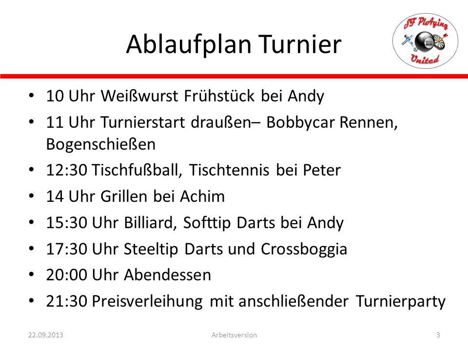 Ablaufplan Turnier 10 Uhr Weißwurst Frühstück bei Andy 11 Uhr Turnierstart draußen– Bobbycar Rennen, Bogenschießen 12:30 Tischfußball, Tischtennis bei
