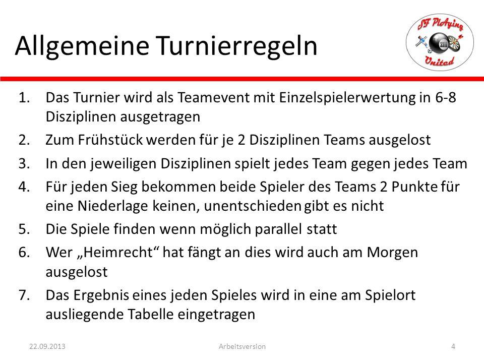 Allgemeine Turnierregeln 1.Das Turnier wird als Teamevent mit Einzelspielerwertung in 6-8 Disziplinen ausgetragen 2.Zum Frühstück werden für je 2 Disz