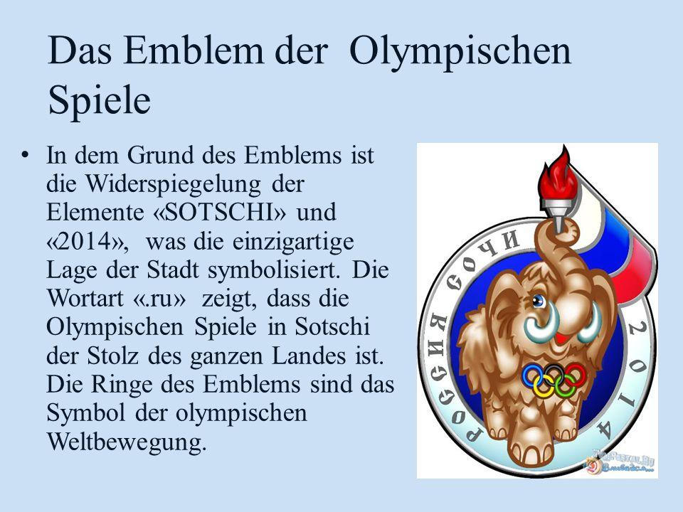 In dem Grund des Emblems ist die Widerspiegelung der Elemente «SOTSCHI» und «2014», was die einzigartige Lage der Stadt symbolisiert.