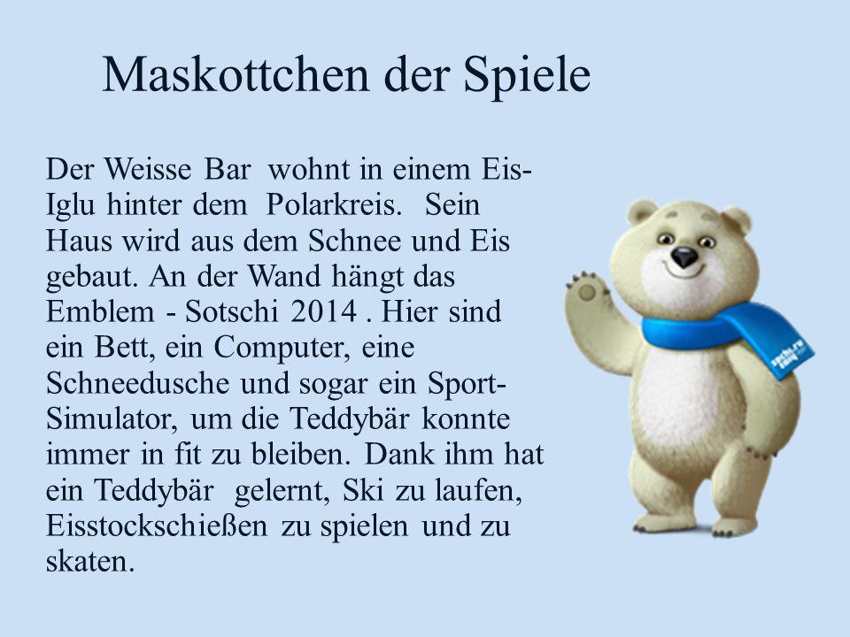 Maskottchen der Spiele Der Weisse Bar wohnt in einem Eis- Iglu hinter dem Polarkreis. Sein Haus wird aus dem Schnee und Eis gebaut. An der Wand hängt
