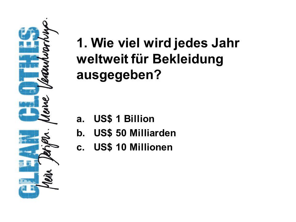 1. Wie viel wird jedes Jahr weltweit für Bekleidung ausgegeben.