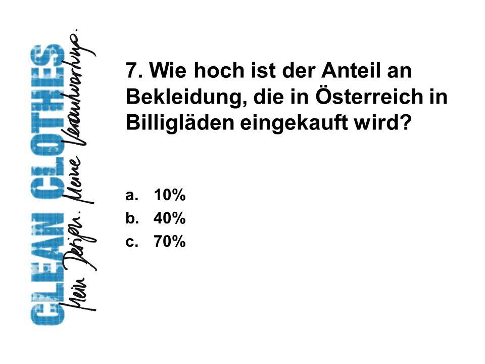 7. Wie hoch ist der Anteil an Bekleidung, die in Österreich in Billigläden eingekauft wird.