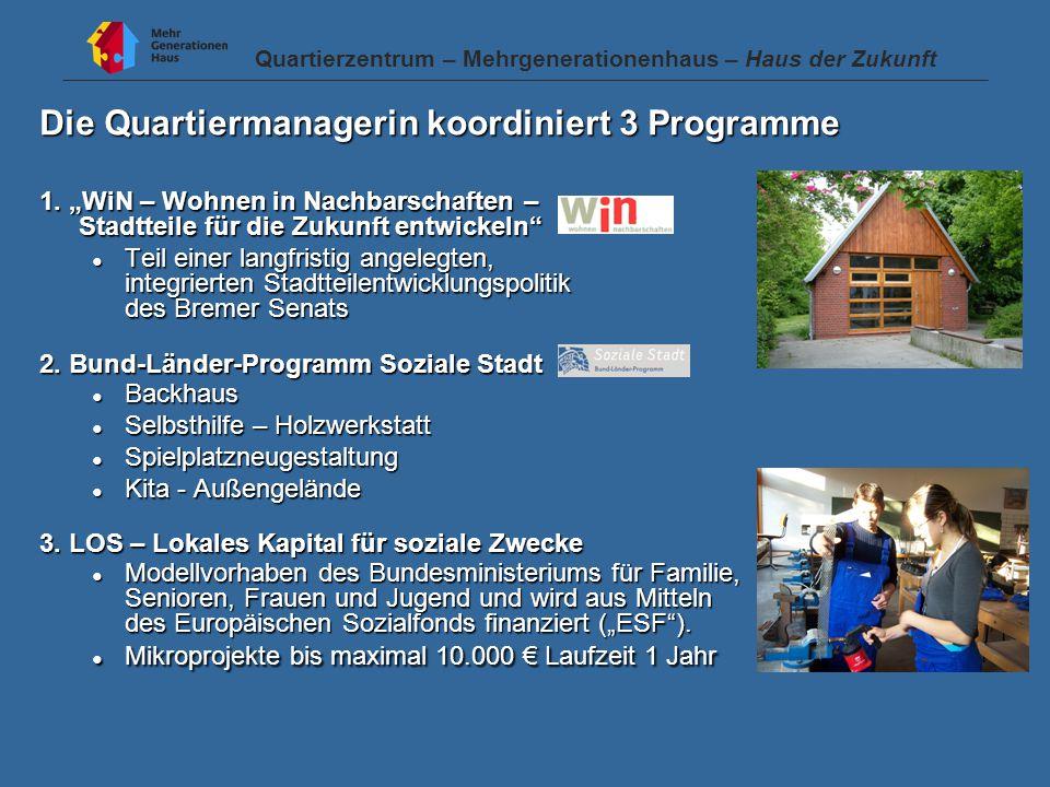 Die Quartiermanagerin koordiniert 3 Programme 1.