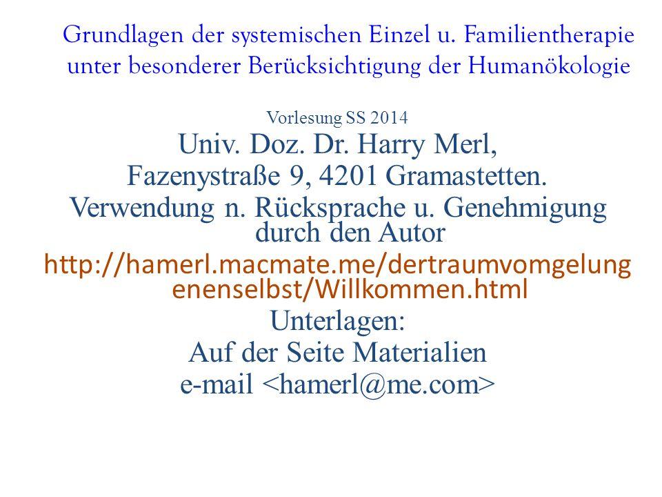 Grundlagen der systemischen Einzel u. Familientherapie unter besonderer Berücksichtigung der Humanökologie Vorlesung SS 2014 Univ. Doz. Dr. Harry Merl