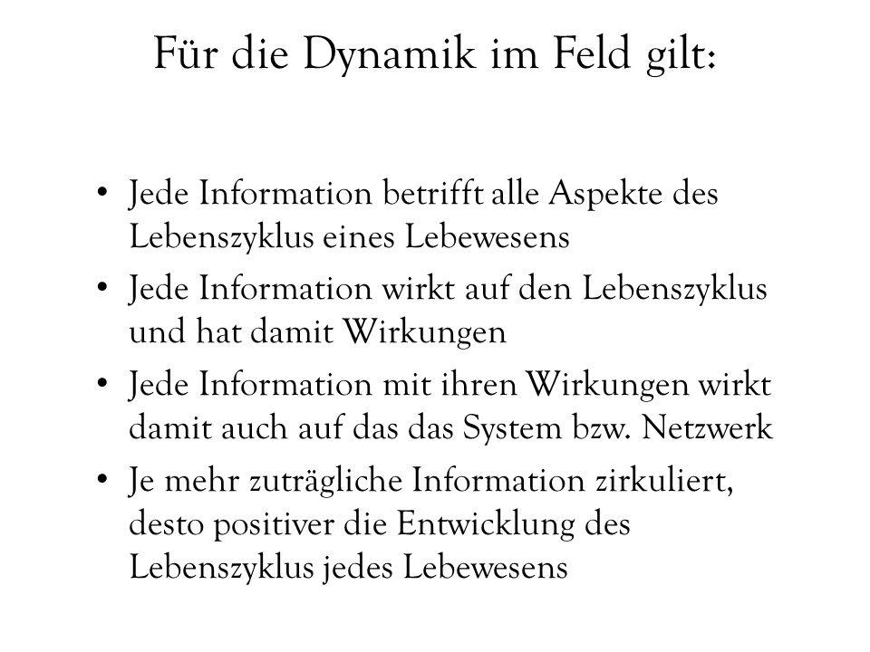 Für die Dynamik im Feld gilt: Jede Information betrifft alle Aspekte des Lebenszyklus eines Lebewesens Jede Information wirkt auf den Lebenszyklus und