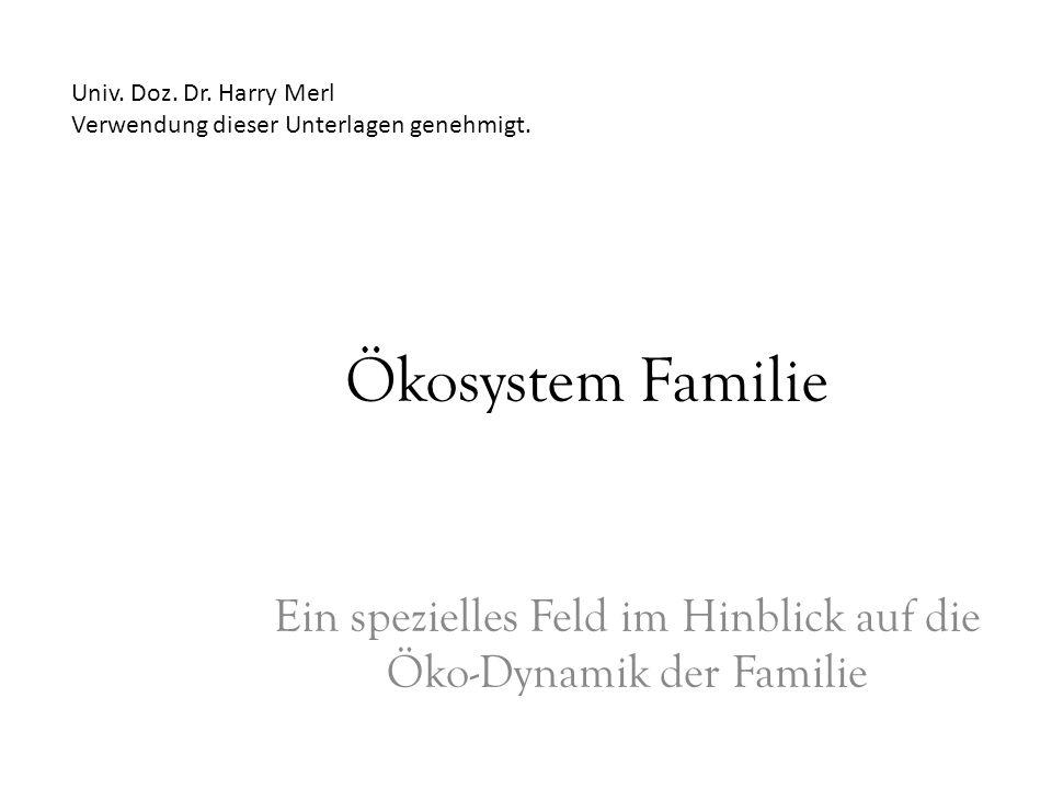 Ökosystem Familie Ein spezielles Feld im Hinblick auf die Öko-Dynamik der Familie Univ. Doz. Dr. Harry Merl Verwendung dieser Unterlagen genehmigt.
