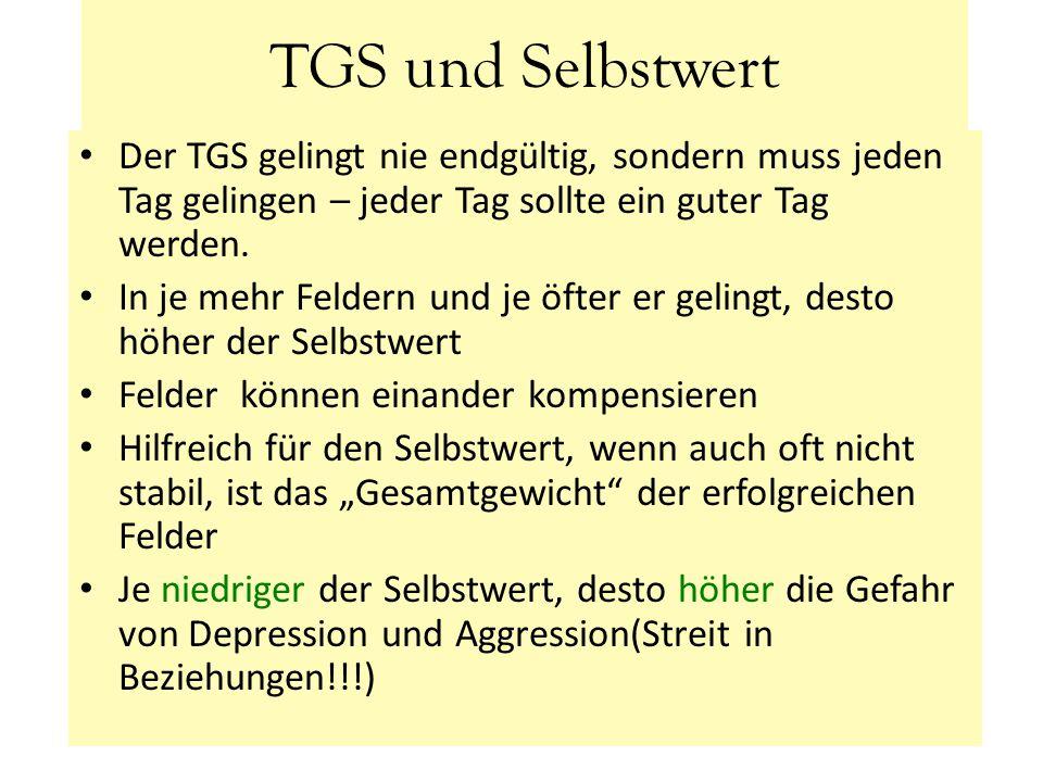 TGS und Selbstwert Der TGS gelingt nie endgültig, sondern muss jeden Tag gelingen – jeder Tag sollte ein guter Tag werden. In je mehr Feldern und je ö