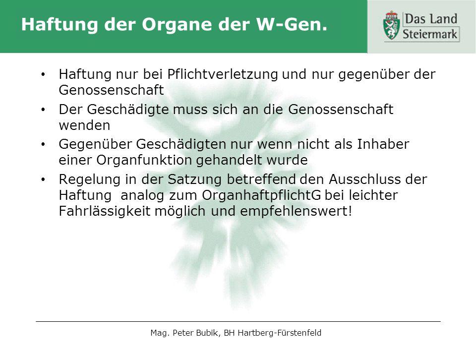 Aufgaben der Organe der W-Gen.