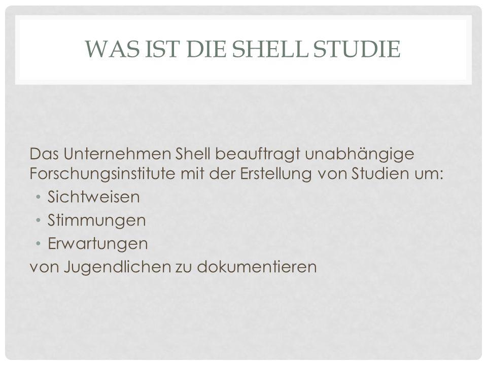 WAS IST DIE SHELL STUDIE Das Unternehmen Shell beauftragt unabhängige Forschungsinstitute mit der Erstellung von Studien um: Sichtweisen Stimmungen Erwartungen von Jugendlichen zu dokumentieren