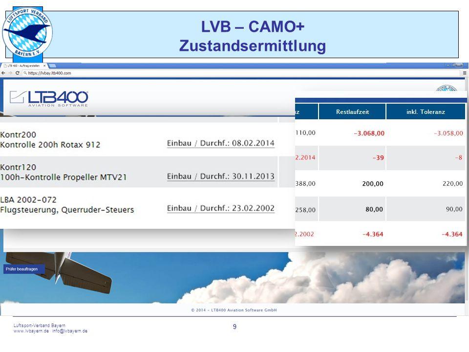 touch the sky Luftsport-Verband Bayern www.lvbayern.de info@lvbayern.de 9 LVB – CAMO+ Zustandsermittlung