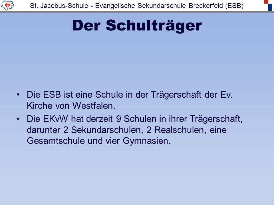 Der Schulträger Die ESB ist eine Schule in der Trägerschaft der Ev. Kirche von Westfalen. Die EKvW hat derzeit 9 Schulen in ihrer Trägerschaft, darunt