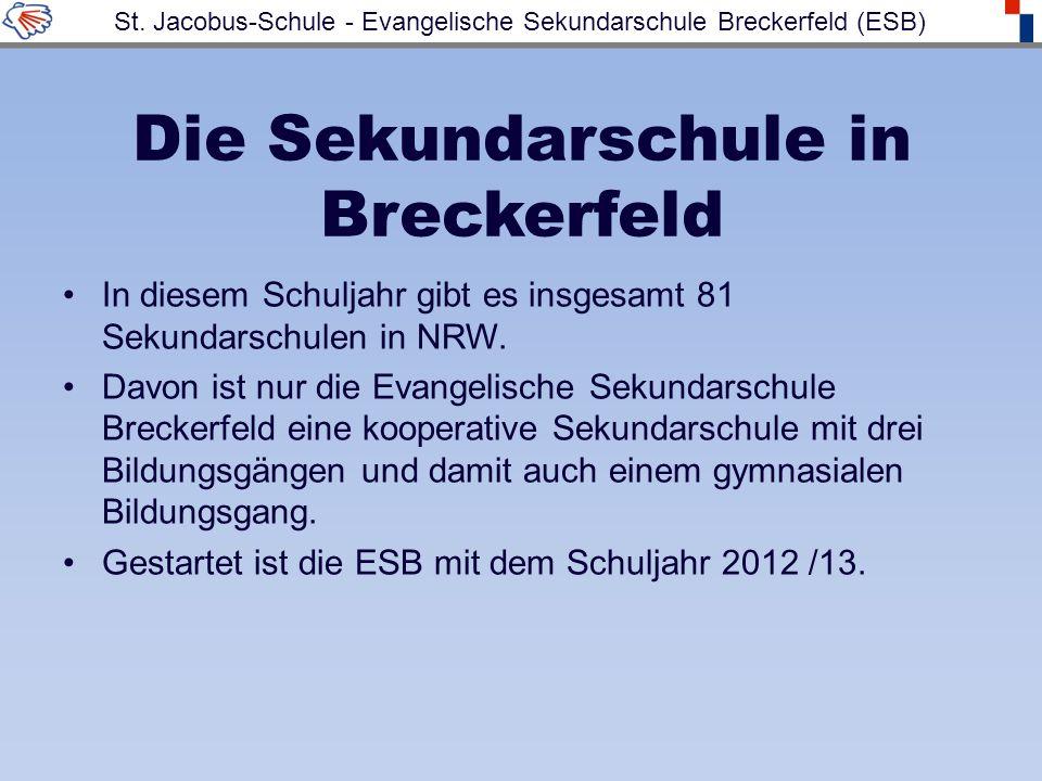 Die Sekundarschule in Breckerfeld In diesem Schuljahr gibt es insgesamt 81 Sekundarschulen in NRW. Davon ist nur die Evangelische Sekundarschule Breck