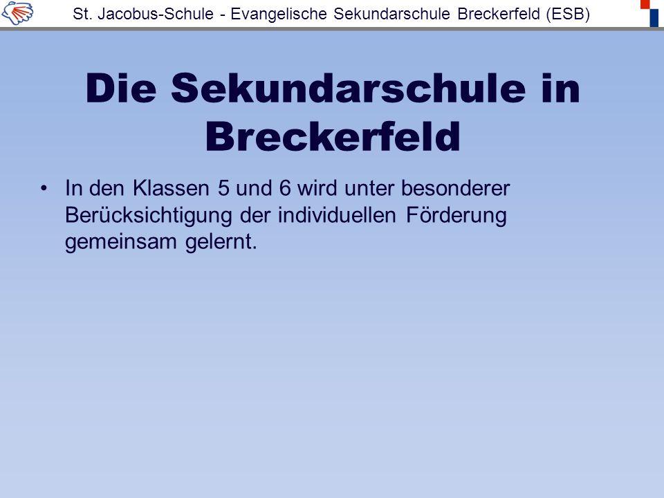 Die Sekundarschule in Breckerfeld In den Klassen 5 und 6 wird unter besonderer Berücksichtigung der individuellen Förderung gemeinsam gelernt. St. Jac