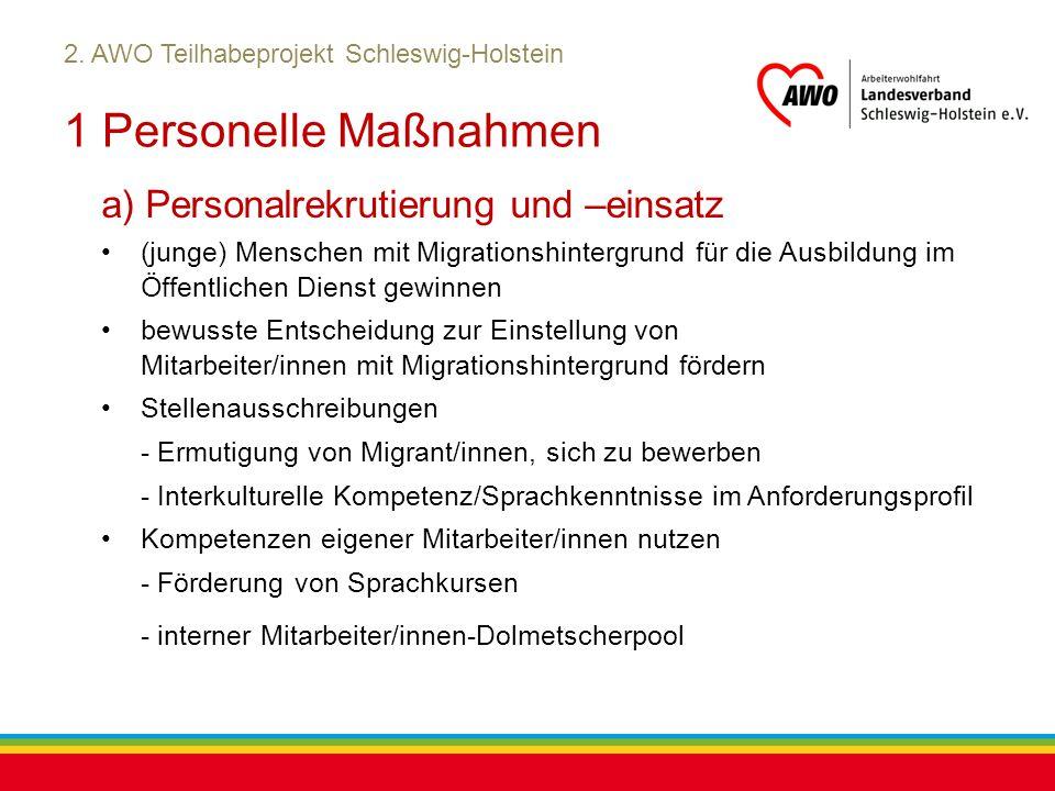 Kiel, Juli 2012 2. AWO Teilhabeprojekt Schleswig-Holstein 1 Personelle Maßnahmen a) Personalrekrutierung und –einsatz (junge) Menschen mit Migrationsh