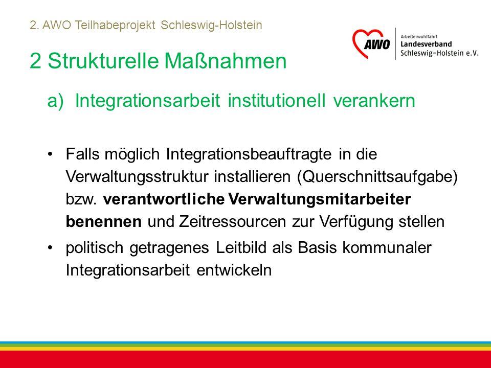 Kiel, Juli 2012 2. AWO Teilhabeprojekt Schleswig-Holstein 2 Strukturelle Maßnahmen a)Integrationsarbeit institutionell verankern Falls möglich Integra